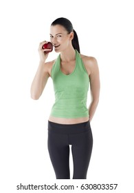 Thin slender girl with apple isolated on white background dieting and weight loss concept