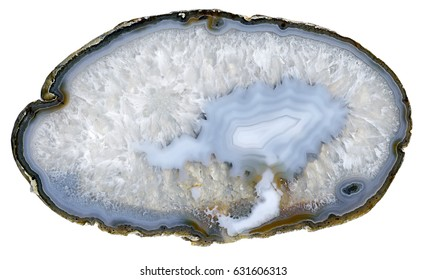 Thin slice of blue agate geodes with concentric layers