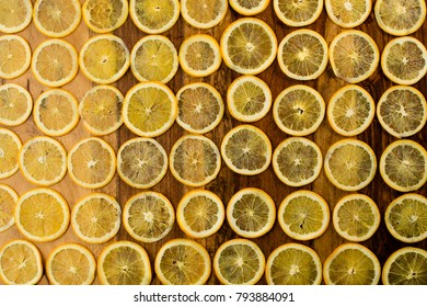 thin sliced orange is on the table
