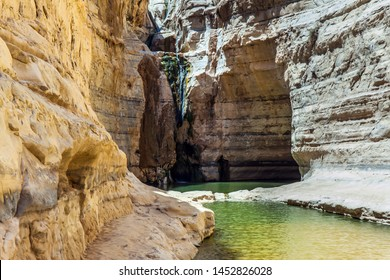 Thin trickles of the waterfall Ein Avdat. Sunny day in the Negev desert, Israel. Canyon and sky reflected in the water. The concept of ecological, active and phototourism - Shutterstock ID 1452826028