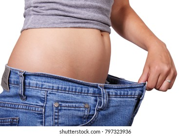 Thin waist, a weight loss person