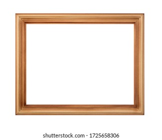 thin wooden photo frame isolated on white background.
