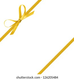 thin yellow bow with ribbon, isolated on white background
