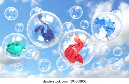 things falling in soap bubbles concept of clean washing and freshness