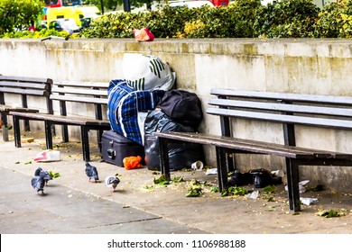 Things of a homeless man waiting for his owner at Hyde Park, London