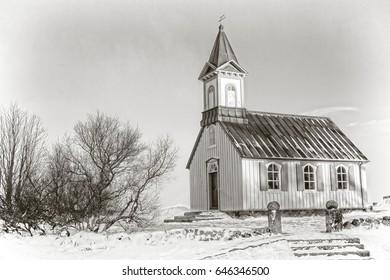 Thingvellir Church B&W