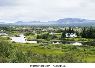 Thingvellir Church is at the site of the first Icelandic parliament.