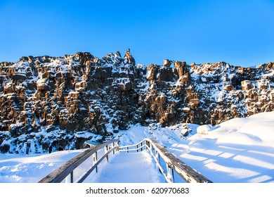 Thingvellir is a historic site and national park in Iceland, east of Reykjavík.The park sits in a rift valley caused by the separation of 2 tectonic plates