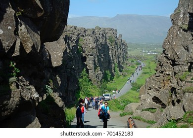 THINGVELLIR, ICELAND - JULY 25: The drift on 25 July 2017 at Thingvellir. The continental drift divides America and Europe geographically.