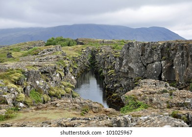 Thingvellir National park a famous area in Iceland right over the spot where the atlantic tectonic plates meets