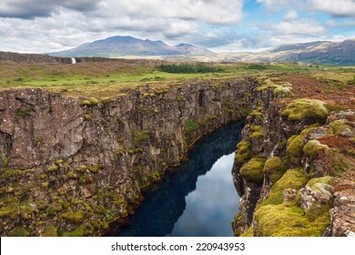 Thingvellir National Park - famous area in Iceland right on the spot where the atlantic tectonic plates meets. UNESCO World Heritage Site, western Iceland, and site of the Althing.