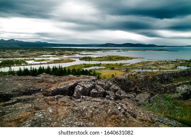 Thingvellir National Park in Iceland. Beautiful view of the  rift valley