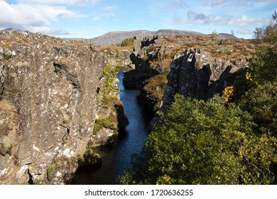 THINGVELLIR NATIONAL PARK, ICELAND - SEPTEMBER 19, 2018: Silfra. The park lies in a rift valley between the North American and Eurasian tectonic plates. Golden Circle in South Iceland.