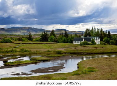 Thingvellir National Park, landscape with wooden church and river. Iceland
