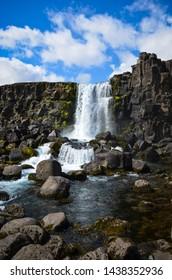 Thingvellir National Park, Oxararfoss waterfall, Iceland