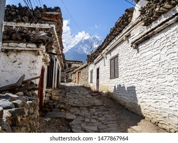 Thini village, Nepal - circa April 2019: traditional village near Jomsom in the lower Mustang Region of Nepal
