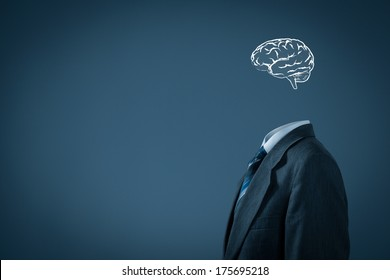 Think about business and headhunter concept. Businessman without head just with brain contemplate.