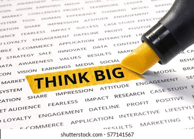Think big word highlighted with marker on paper of other related words.For strategy and business concept ideas.