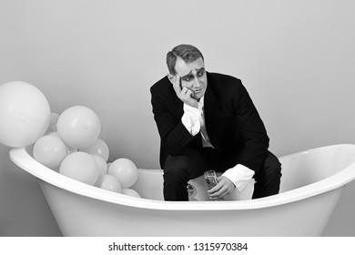 Think celebration, think champagne. Mime actor has celebration party. Mime man celebrate with champagne in bath. Comedian actor enjoy theatre party celebrating. For lifes special moments.