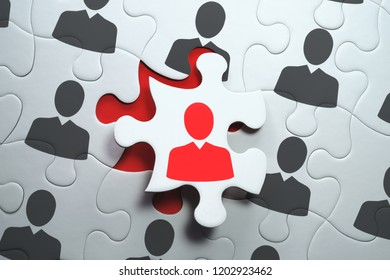 Think different and unique concept. Selecting right people for organization's success. 