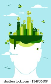 Think green concept: man head and green town illustration.