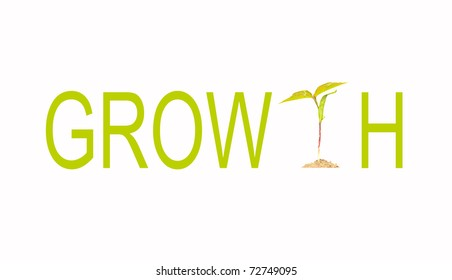"Think green concept with the word growth with a tiny tomato seedling as the letter ""T""."
