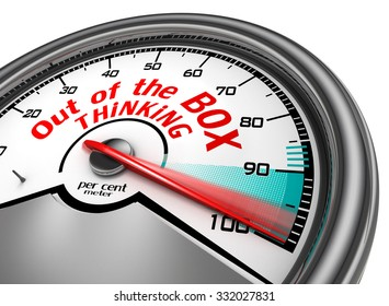 Think out of the box to hundred per cent conceptual meter, isolated on white background