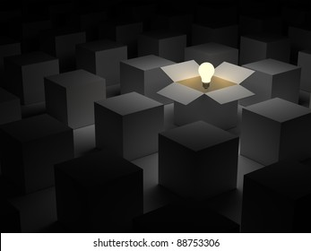 Think out of the box or thinking outside the box and Individuality concept, one glowing light bulb float over opened cardboard box