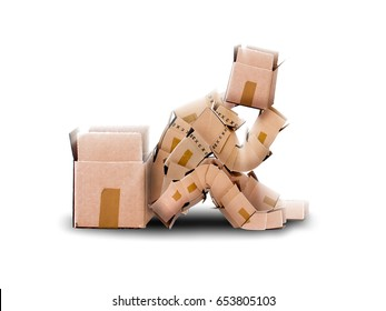 Think outside the box concept with cute boxman character sitting thoughtfully next to an empty container, on a white plain background. Space for copy text