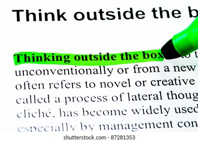 Think outside the box definition highlighted by green marker