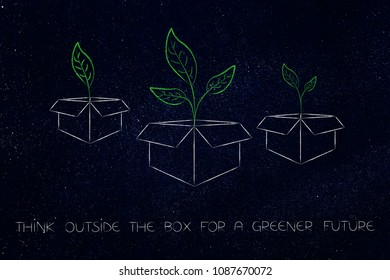 think outside the box for a greener future conceptual illustration: group of parcels or product packaging with leaves growing out of it