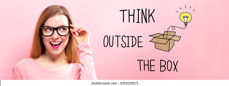 Think Outside The Box with happy young woman holding her glasses