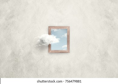 think outside the box surreal minimal concept