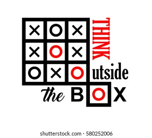 think outside the box text message background illustration