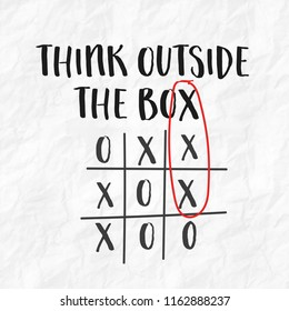 Think outside the box tic tac toe game text