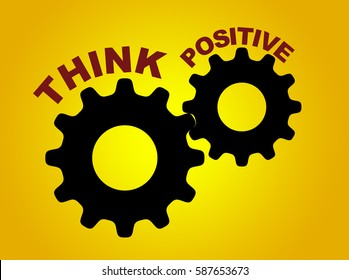 Think positive concept illustration with gear wheel figures on yellow background