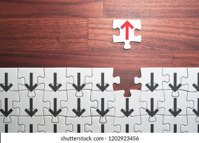 Think positive, different and unique concept. Open the way to the future.