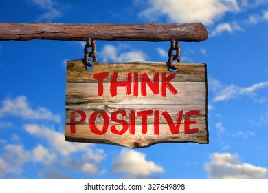 Think positive sign with blurred background