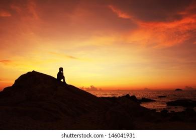 think, sunset and symbol