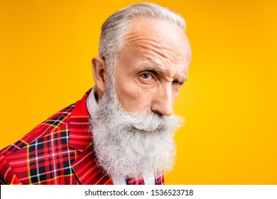 I think you are liar!Closeup photo of cool grandpa guy stylish long beard have doubts looking suspicious wear tartan blazer outfit isolated yellow color background
