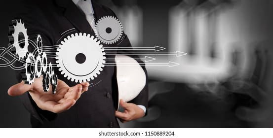 Thinking about structuring virtual diagram of business process with solutions. engineer hand showing 3d gear to success concept