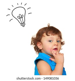 Thinking baby girl with idea light bulb above head isolated on white background