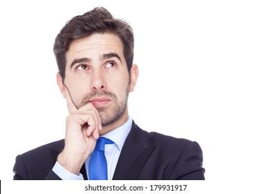Thinking business man isolated on white background