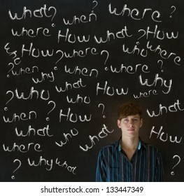 Thinking business man, student or teacher asking what why when were who and how questions on  blackboard background