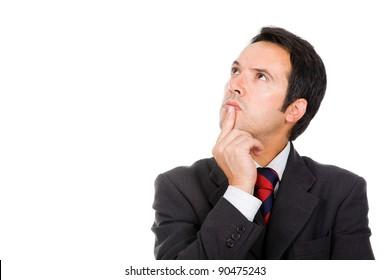 Thinking businessman against white background