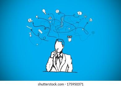 Thinking businessman doodle against blue background with vignette