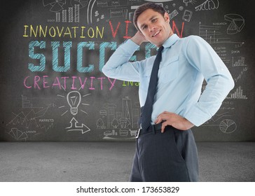 Thinking businessman with hand on head against colourful arrows pointing up