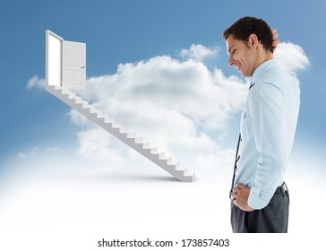 Thinking businessman with hand on head against steps leading to open door in the sky