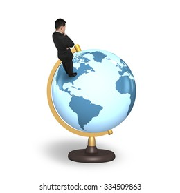 Thinking businessman standing on terrestrial globe, isolated on white background.