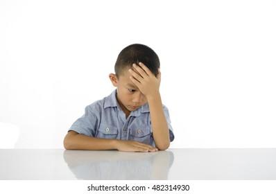 Thinking child bored, frustrated on white background